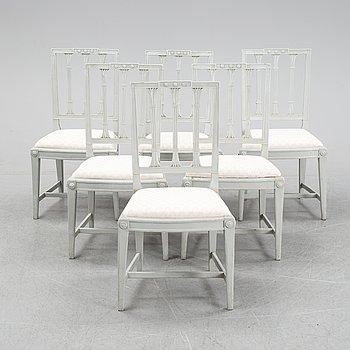 Six late Gustavian chairs by Johan Erik Höglander, master in Stockholm 1777.