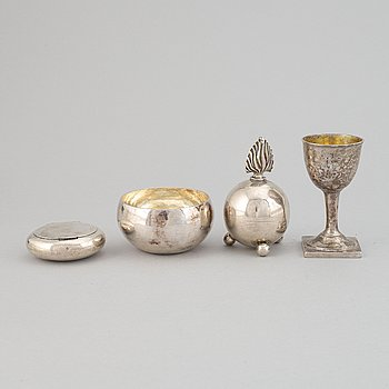 Bowl, cup, box, and flask, silver, Sweden and england, 19-20th century.