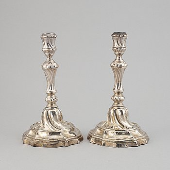 A pair of silver candle holders, probably from Barcelona, second half of the 18th century.