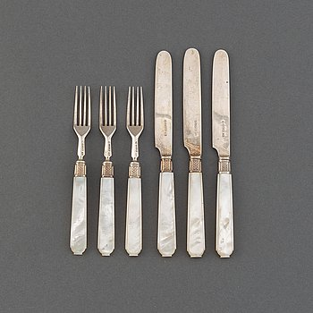 An English set of 44 silver and mother-of-pearl fruit cutlery, mark of Aaron Hadfield, Sheffield, 1846.