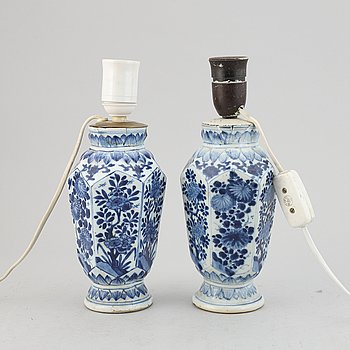 A pair of blue and white vases made in to lamps, Qing dynasty, Qianlong (1736-95).