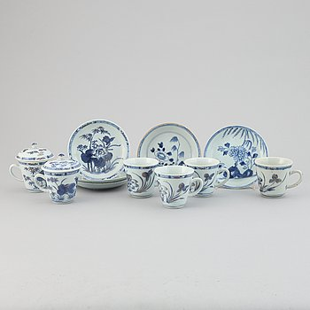 A group of sex cups, two covers and five dishes, Qing dynasty, 18th Century.