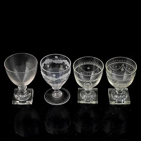 Twelve similar wine glasses, 19th century.