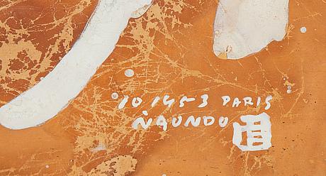 Naondo nakamura, mixed media, signed and dated 1953, paris.