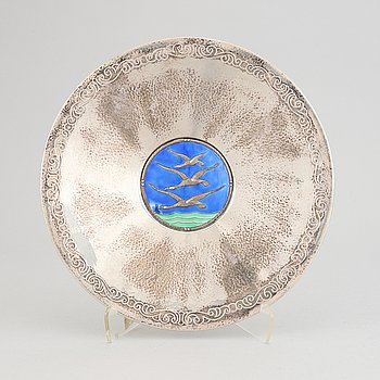 A silver and enamel bowl by Thune, Norway, 1920's/30's.