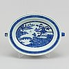 A blue and white hot water dish, qing dynasty, 19th century.