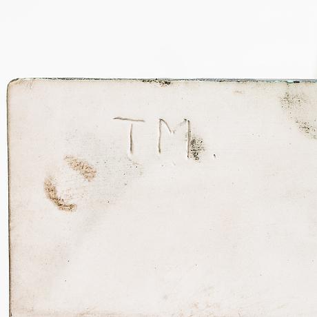 Toini muona, a decorative wall plaque, signed tm.