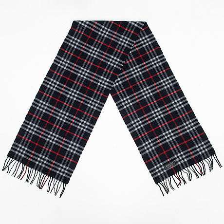 Burberry, check lambs wool scarf.