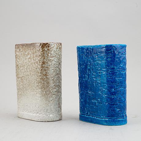 Gunnar nylund, two 1930's chamotte stoneware vases for rörstrand lidköping.