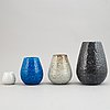 Gunnar nylund, four 1930's chamotte stoneware vases for rörstrand lidköping.