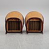 A pair of mahogany and velvet easy chairs by bröderna andersson, 1960's.