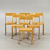 """Sven markelius, chairs, 6 pcs, """"orchestra chair"""", mid-20th century."""