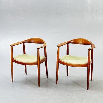 "A pair of Hans Wegner teak armchairs ""the chair"" by Johannes Hansen Denmark 1650/60s."