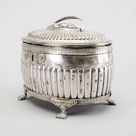 A swedish 19th century silver sugerbowl mark of g folcker stockholm 1828 weight 732 gr.