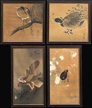Koson Ohara et al, birds four pcs, mixed media, Japan early 20th century-tal,