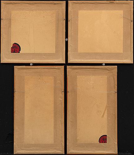 Koson ohara et al, birds four pcs, wood cut, japan early 20th century-tal,