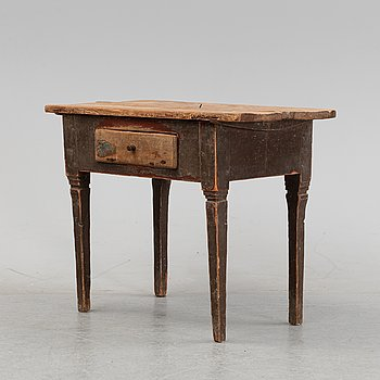A Swedish painted table with a drawer, 19th century.