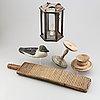 Allmogeföremål 5 delar. mangeldon, lykta, fat, ljusstake och vätte.