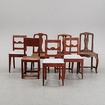 Stolar, sju stycken, allmoge, 1700 samt 1800-tal.