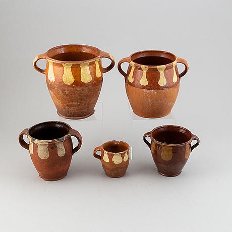 Samling lerkrus allmoge, 5 delar, 1800/1900-tal.