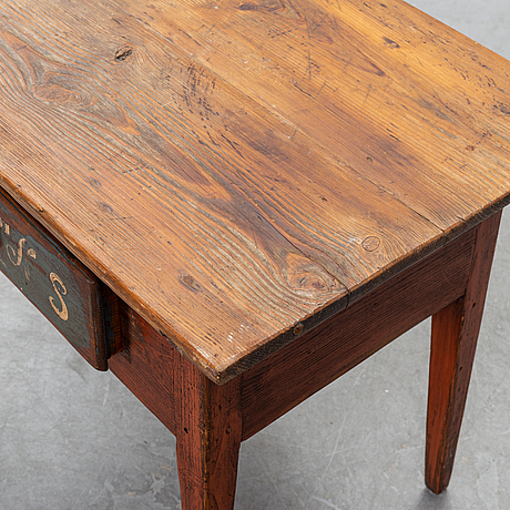 A painted swedish table, mid or second half of the 19th century.