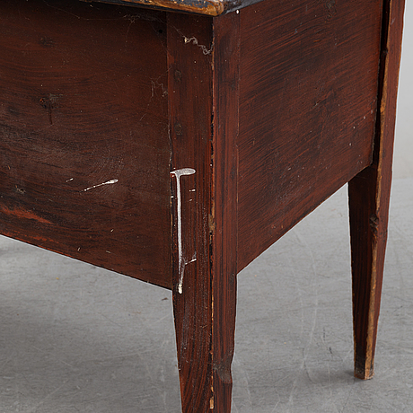 A painted table with drawers, mid 19th century.
