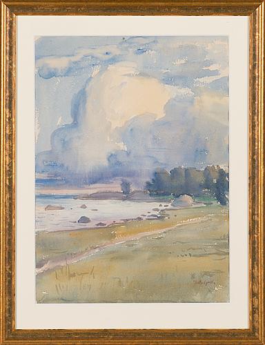 Johannes gebhard, akvarell, signerad.