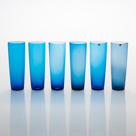 Tapio wirkkala,  a set of 18 juice glasses model 2204, iittala, 1956-1969.