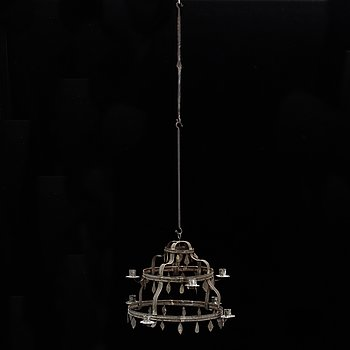 A Swedish tinplate chandelier from the first half of the 20th century.