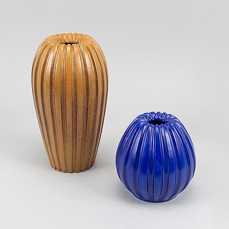 Two earthenware vases by vicke lindstrand by uppsala ekeby.