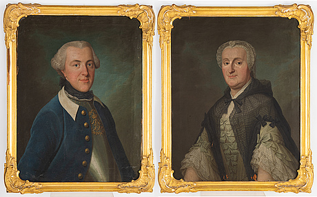 Swedish artist, 18th century,  a pair, oil on canvas, dated 1764 & 1765.