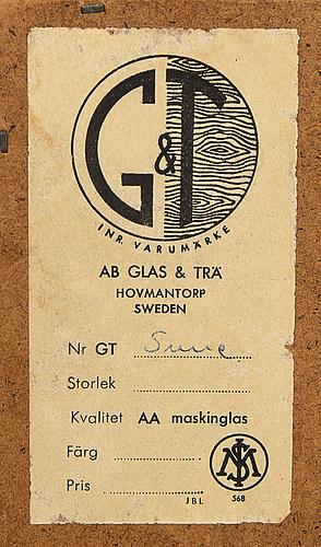Mirror, glass & wood hovmantorp, g&t, 1960s.