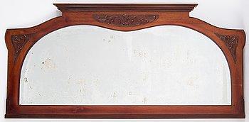 A mahogany Art Nouveau mirror, early 20th century.