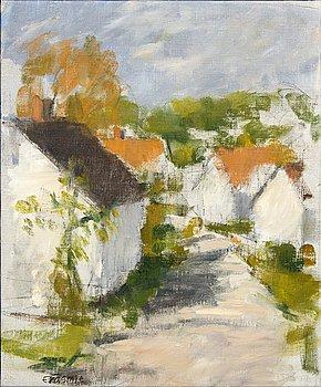 "Torsten Erasmie, oil on canvas, signed, on verso dated 1987, ""Vik""."