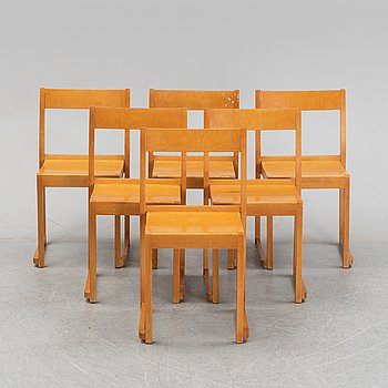 A set of six birch chairs, 'Orkesterstolen', designed by Sven Markelius, mid 20th Century.