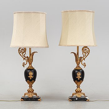 A pair of Empire style table lamps, second half of the 20th century.