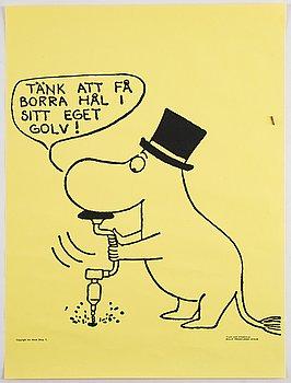 Tove Jansson, six Moomin posters from Bull's Presstjänst, Art Work Shop, 1960's.