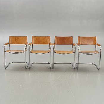A set of four Italian chrome and leather armchairs later part of the 20th century.