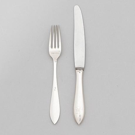 A 24-piece set of silver cutlery, maker's mark of heikki kaksonen, helsinki 1922.