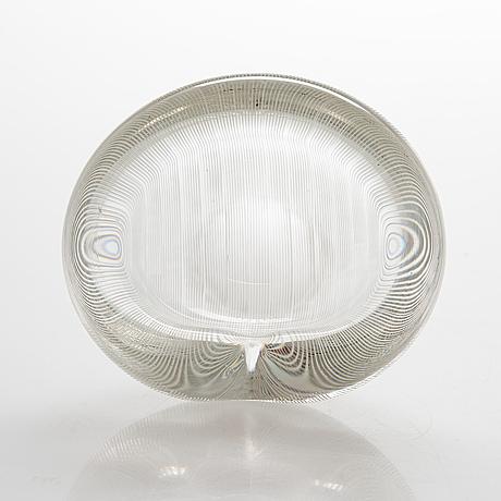 Tapio wirkkala, a glass bowl, signed tapio wirkkala iittala.