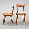 A set of six pine chairs, second half of the 20th century.