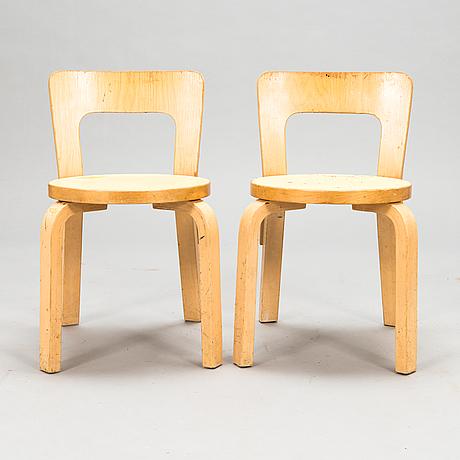 Alvar aalto, two 'n65' children's chairs for artek.