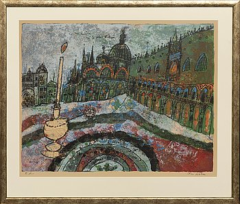Theo Tobiasse, lithograph in colours, signed and EA.