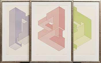 Oscar Reutersvärd, three litographs, signed and numbered 25/190, 4/190 and 3/190.
