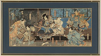 Utagawa Kunisada, a coloured triptych, Japan, 19th century.
