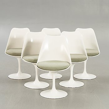"""Eero Saarinen, stolar 6 st """"Tulip"""", Knoll International, 1900-talets slut."""