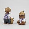 "Lisa larson, two stoneware figurines, from the series ""larsons ungar"", gustavsberg, 1962-1980."