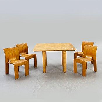 Gijs Bakker a 5 pcs oak dining set for Castelijn Netherlands 1974.