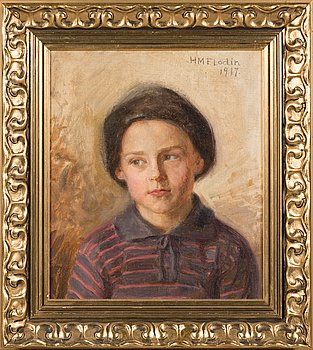 Hilda Flodin, oil on canvas, signed and dated 1917.