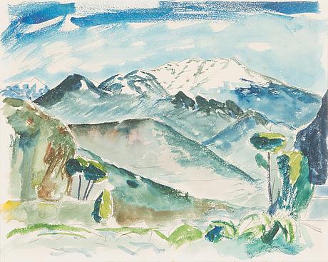 Erik enroth, akvarell, signerad och daterad 1950.